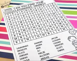 classmate search personalized classmate names word search editable and easy to use