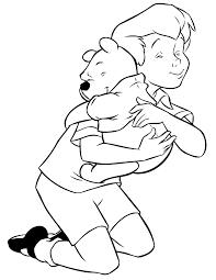 christoper robin hugging winnie pooh coloring u0026