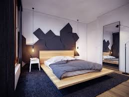 cool unique headboard decor offer scandinavian floating bed style cool unique headboard decor offer scandinavian floating bed style with natural wooden material with futuristic black ornament shape behind also simple