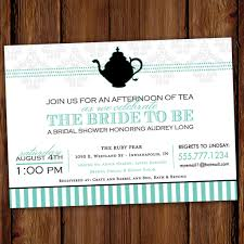 formal bridal shower tea party invitation with black tea pot