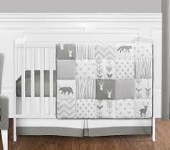 Grey Crib Bedding Sets Grey And White Woodsy Deer Boy Unisex Baby Crib Bedding Set
