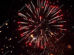 lanterns fireworks lanterns and fireworks in sky stock photo chenws 95498962