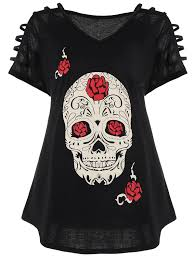 cut out skull print plus size tee in black 5xl sammydress com