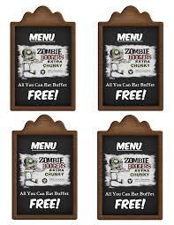 zombie boogers labels printable menu tags