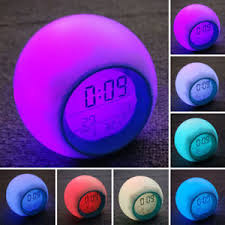 night light alarm clock modern wake up lights alarm clock digital time temp display night