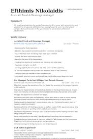 Resume For Assistant Manager Food And Beverage Manager Resume Samples Visualcv Resume Samples