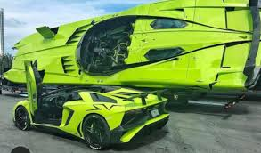 Green Lamborghini Aventador - lamborghini aventador sv and matching speed boat for sale