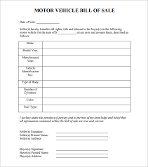 Free Motor Vehicle Bill Of Sale Template by Auto Bill Of Sale 8 Free Word Excel Pdf Format