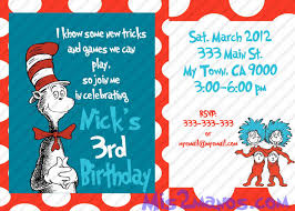 How To Make Birthday Invitation Cards At Home Cat In The Hat Birthday Invitations Kawaiitheo Com