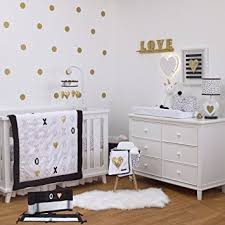 Black And Gold Crib Bedding Xoxo Black White And Gold 5 Baby Crib Bedding