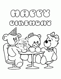 happy birthday with teddy bears coloring page for kids holiday