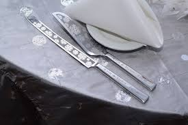 winter wedding cake server and knife set for snowflake themed