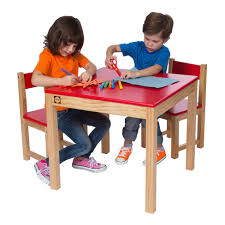 wooden table and chair set red easels u0026 tables by alex toys