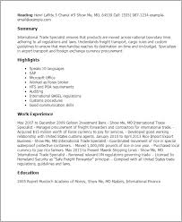 Data Entry Specialist Resume Professional International Trade Specialist Templates To Showcase