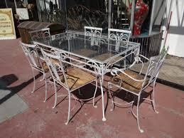 Glass Table Patio Set Salterini 1928 1953 Wrought Iron Outdoor Patio Furniture F635