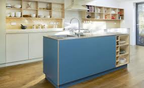 kitchen with warm blue green cabinets and raw birch plywood all