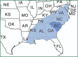 Eastern Us Map Range South Carolina Beetles