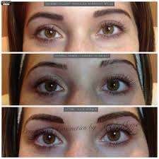 before with pencil before with uneven eyebrows after permanent