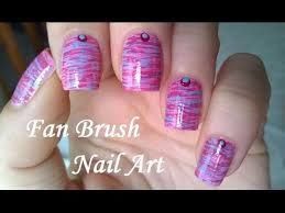 fan brush nail art tutorial pink u0026 blue striped nails design