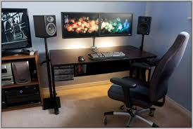 Dual Monitor Gaming Desk Dual Monitor Computer Desk Irrational With Hutchhome Design Ideas