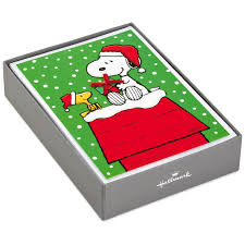 snoopy christmas dog house peanuts snoopy doghouse christmas cards box of 16 boxed cards