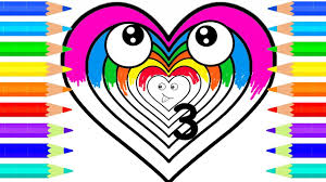learn colors with rainbow hearts baby draw and coloring pages