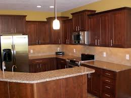 Small Kitchen Flooring Ideas Cherry Cabinets Kitchen Amber Cherry Mitred Raised Kitchen For
