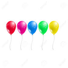 Five Shiny Balloons In Different Colors Each Of The Balloons