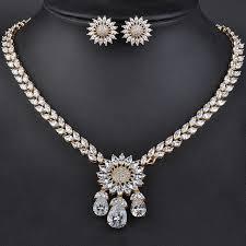 luxury gold necklace images Luxury gold color elegant shape bridal cz flower pendant necklace jpg