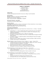 Example Resume For Students by Resume Examples Physical Education Augustais