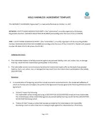 100 simple hold harmless agreement template cherry festival