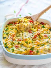 cheesy quinoa casserole with corn and chicken