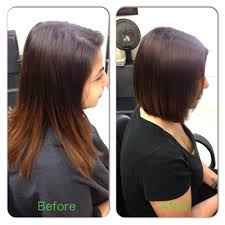 long hair cut into a fresh and cropped bob this length
