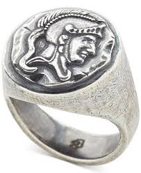 mens silver rings degs sal men s spartan signet ring in sterling silver rings