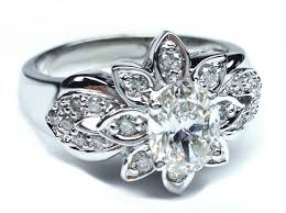 flower engagement ring vintage engagement ring antique oval flower engagement ring 0 29