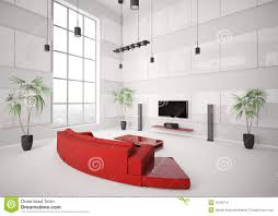 Red Sofa In Living Room by White Living Room With Red Sofa Interior 3d Royalty Free Stock