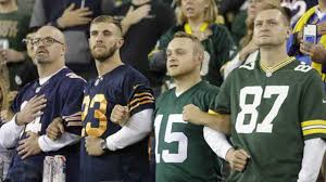 chicago bears fan site green bay packers chicago bears fans lock arms during national