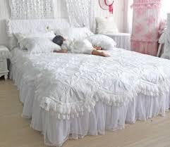 Ruffled Bed Set Diaidi Custom Made Beautiful Comforters Sets White Lace Ruffled
