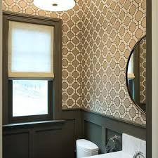 gray powder room wallpaper with wainscoting transitional bathroom