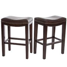 Brown Leather Accent Chair Set Of 2 Amazon Com Jaeden Backless Brown Leather Counter Stools Set Of 2