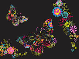 flowers and butterflies background vector graphics