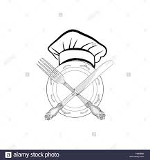 Chef Cook Hat With Fork And Knife Hand Drawing Sketch Label