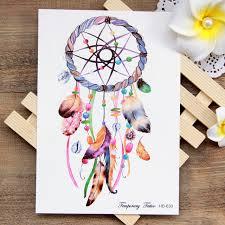 waterproof temporary tattoo sticker colorful dreamcatcher boho