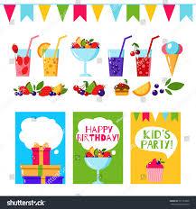 Birth Invitation Cards Happy Birthday Invitation Card Flat Vector Stock Vector 391163098