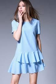 light blue dress light blue sleeve layered casual dress casual dresses
