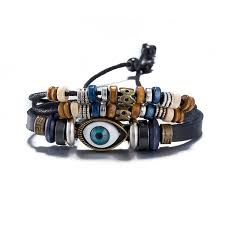 mens jewelry leather bracelet images Jenia wooden bead braided mens jewelry spain style evil eye extend jpg