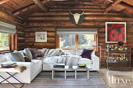 eclectic brown living room with white sectional luxe interiors