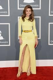 maria menounos long sleeve slit yellow prom dress grammys 2013 red