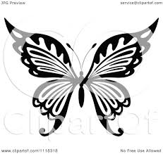 clipart of a black and white butterfly 12 royalty free vector