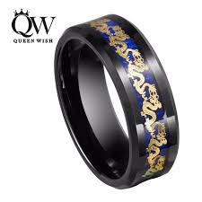 mens tungsten rings images Queenwish black tungsten ring mens chinese traditional gold dragon jpg